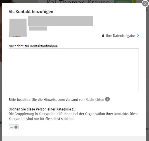 XING Kontakt hinzufügen an